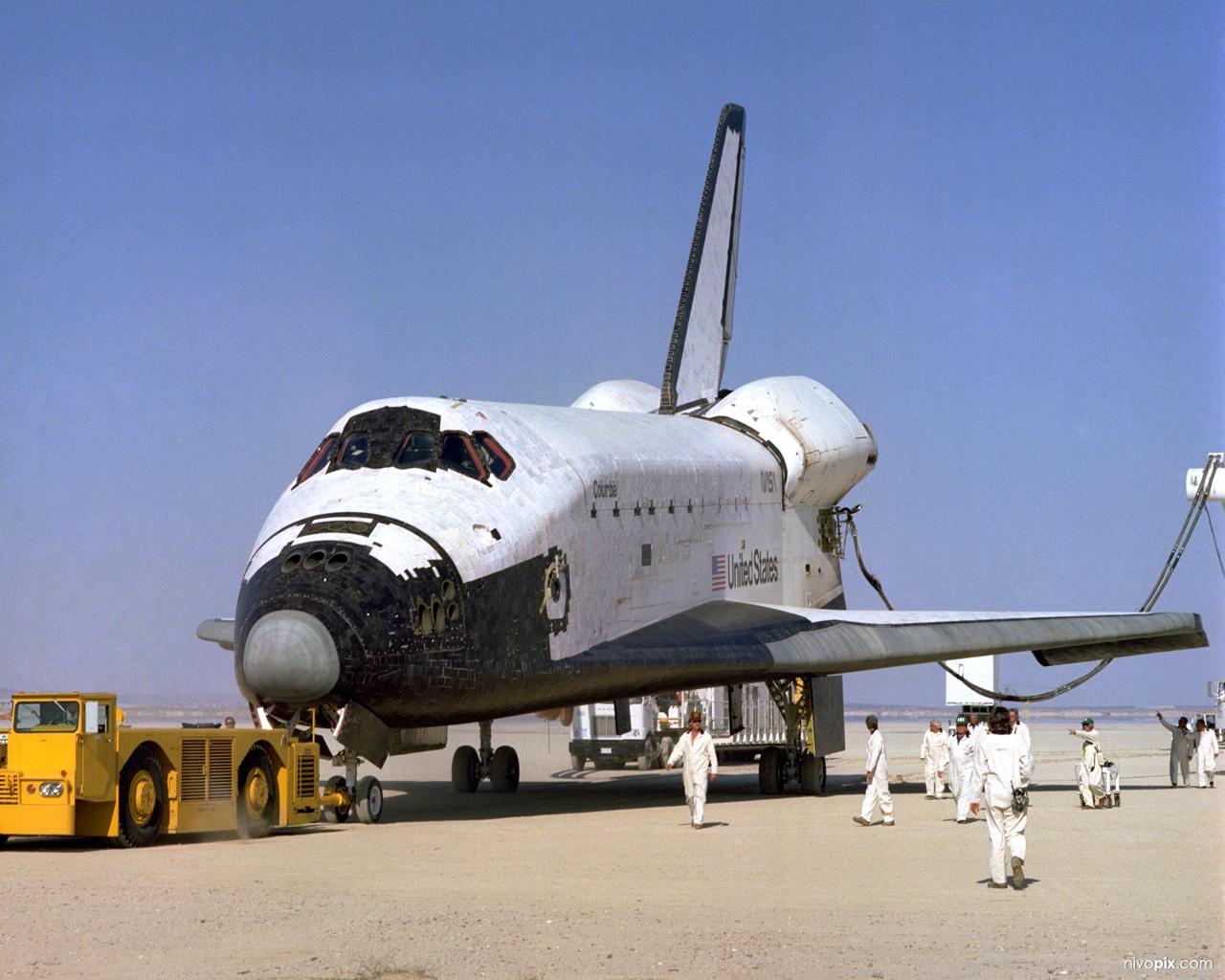 Space Shuttle Columbia after landing to complete its first orbital mission
