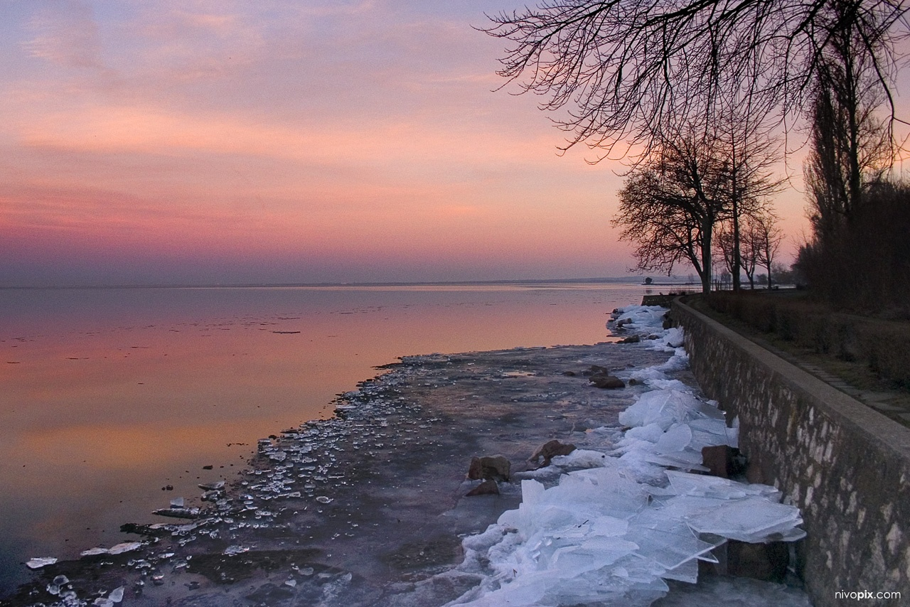 Balaton Sunset In Winter Tihany Tihany A Photo From