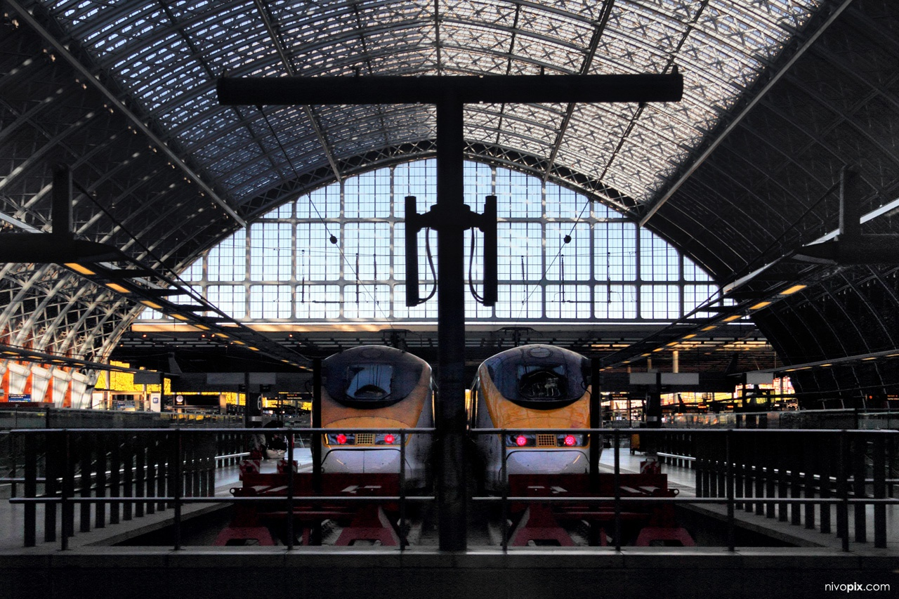 Eurostar trains at St Pancras International railway station