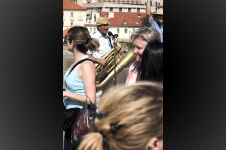 Street musician at Charles Bridge